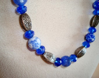 SALE  SIXTEEN DOLLARS - Gemstone Necklace with Tribe Hill Beads