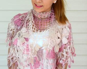Crochet Shawl, Dahlia Flower Shawl, Triangle Shawl, Floral Fantasy, Spring Accessory, Light Pink, Beige, Cream Ivory, Pastel Shawl