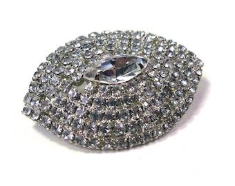 Vintage Crystal Clear RHINESTONE  Pin Brooch Oval Shape
