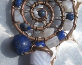 Sacred Spiral //Psychic Clarity//Blue Lace Agate, Lapis Lazuli, and Copper Wire Wrap  Pendent, One of a Kind, Art, Handmade