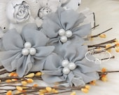 NEW: 4 pcs Lavinia SILVER GREY Soft Chiffon and Tulle w/ pearls Ruffled Fabric Flowers, Hair accessories. Headband Flowers. Scrapbooking.