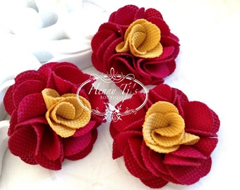"""NEW: 4 pcs (Wine mustard) Dainty 2"""" Two Tones Folded Rose Fabric Flowers, Cotton Small Puff fabric flowers - Hair Accessories, DIY supply."""