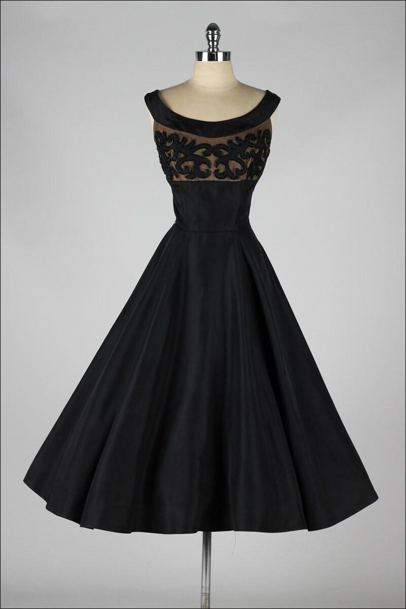 Vintage 1950s Dress Black Taffeta Beaded Illusion Party
