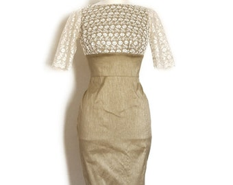 Size UK 12 (US 8-10) -Taupe Silk Dupion and Cream Lace Pencil Dress - Made by Dig For Victory