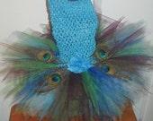 Peacock Fairy Tutu Dress Peacock Halloween Tutu Dress with Peacock feathers fairy Size newborn 3 mo 6 mo 9 mo 12 mo 18 mo 24 mo 2t 3t 4t 5 6