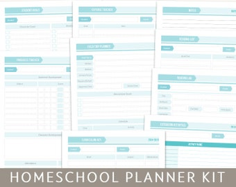 Printable Homeschool Planner Kit, Editable PDF