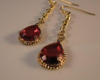 Gold Bezel Earrings, gold earrings, drop earrings, dangle earrings, bezel earrings, long earrings, gemstone earrings, earring