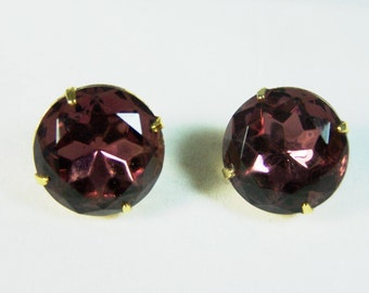 Large Round Purple Rhinestone Clip Earrings Unsigned