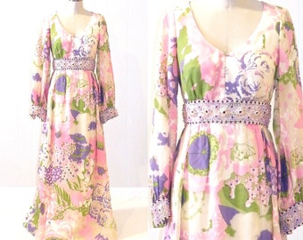 Vintage 1960s Party Dress, 60s Beaded Floral Bohemian Dress, 1960s Long Fomal Dress, Ruth McCulloch, S - M