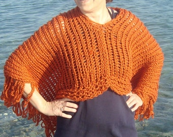 Hand knit womens poncho hippie clothes festival clothing hiipie women rust poncho