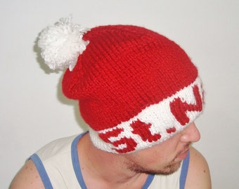 St. Nick personalized santa hat Christmas Santa Hat, Adult Santa Hat, personalised gift for mens gifts for him, Red White Knit