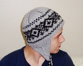 Women's Knit Hat - Grey / Black Knitted Beanie // Gifts for Her // gifts under 50 // hunter gifts for women