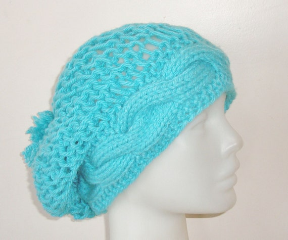 Hand Knit Hat Womens Hat - Slouchy Hat in Turquoise Green Knit Hat - Womens Accessories Tam Hat - gift for women