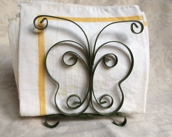 1970s Butterfly Avocado Metal Scroll Vintage Napkin Holder