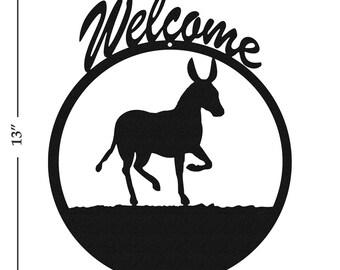 Donkey Mule Burro Black Metal Welcome Sign