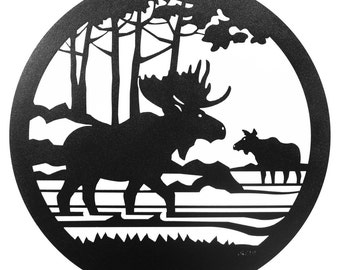 Hand Made Moose Scenic Art Wall Design *NEW*