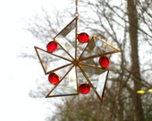 Red Sun Catcher Stained Glass Star Flower Christmas Ornament Beveled Snowflake Handmade OOAK