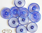 Blue Glass Disc Beads, FREE SHIPPING, Set of Handmade Lampwork Spiral Beads - Racelcartglass