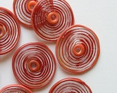 Red and Coral Lampwork Glass Beads, FREE SHIPPING, Handmade Lampwork Spiral Disc Beads - Rachelcartglass
