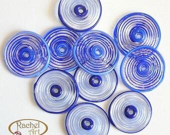 Blue Glass Disc Beads, FREE SHIPPING, Set of Handmade Lampwork Spiral Beads - Racelcartglass