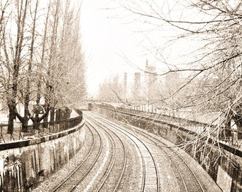 Pittsburgh train Photography tracks industrial travel steel coal trees three amtrak linear sepia railroad - Remember when - fine art photo