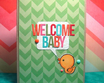 Welcome Baby Yellow Duck Hand Colored Handmade Card Blank Inside Kraft Green Pink Blue