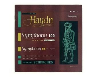 "Ronald Clyne record album design, 1950. ""Haydn: Symphony 100; Symphony 95"" LP"