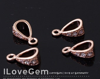 SALE / 20pcs / NP-978 Rose Gold plated, Bail