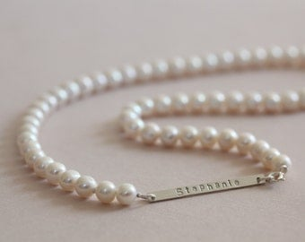 pearl necklace, pearl choker, name necklace, wedding necklace pearl, personalized necklace - 7mm freshwater pearls