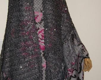 Wedding shawl chargray sequin Shawl Wrap Triangle shawl glamous shawl Hand Crocheted Silver Blend Yarn