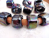 Ceramic Bead Tube Slider Shiny Black Gasoline Iridescent, Oil On Water for use Oval Licorice Leather Cord 10x6mm- 1 piece