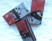 Crackling Fire Calligraphy Inspired Deep Red, Silver, and Black Glycerin Soap