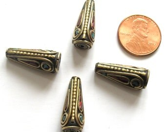 Beautiful Tibetan conical shape brass beads with turquoise coral inlay  -  1 bead - BD481