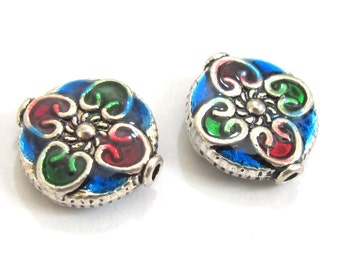 2 BEADS - Round flat disc silver color enamel inlaid  floral heart with sun design beads - BD574