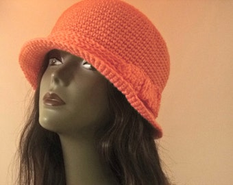 Just Peachy crochet spring summer  fall cloche Mothers Day gift