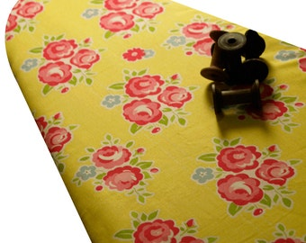 PADDED Ironing Board Cover made with Riley Blake Sidewalks classic vintage red flower bouquets on yellow background select the size
