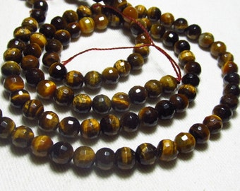 15 Inches Long Strand Perfect Calibrated Size 6x6 mm - TIGER EYES - Micro Faceted Round Ball Beads wholesale Price