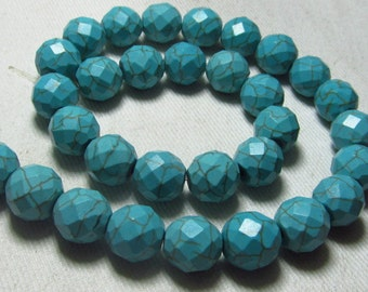15 Inches Gorgeous - Chinese TOURQUISE - Perfect Calibrated 10x10 mm Faceted Round Ball Beads wholesale Price
