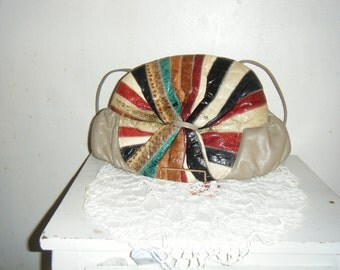 Leather Purse with Multi Color  Snake Skin Embellishment