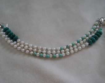 Pearl and Turquoise Triple Strand Bracelet with Sterling Silver Clasp