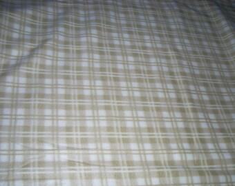 Fleece Fabric - Khaki / olive greenish  plaid on off white - sold by the yard