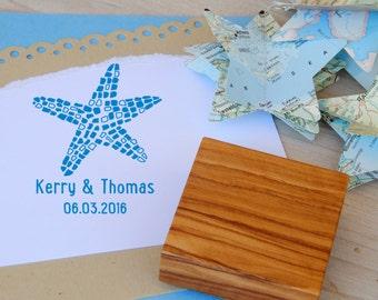 Custom  Mosaic Starfish Olive Wood Stamp