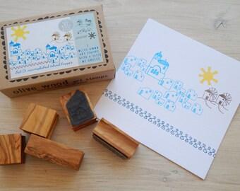 Accomplished Island Hopper  - Greek Themed Multi-Olive Wood Stamp Box Set - 5 stamps
