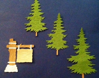 Rustic Sign and Trees - Camping - Bazzill Die Cuts