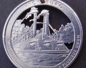 Vicksburg National Military Park Quarter Hand Cut Coin Jewelry