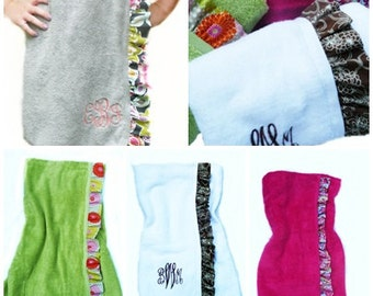 Spa towel wrap, monogrammed, personalized, side ruffle, beach towel wrap, strapless towel wrap