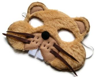 Woodchuck Mask, Groundhog Mask, Woodland Animal Mask, Animal Fur Mask, Animal Birthday Party Favor, Children's Halloween Costume, Adult Mask