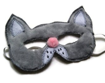 Cat Mask, Kitty Mask, Kitten Animal Mask, Farm Animal Birthday Party Favors, Child's Halloween Costume, Dress Up, Adult Mask, MADE TO ORDER