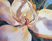 Magnolia - Golden Glow, Watercolor 8 x 11 inch watercolor print by WatercolorsMmore