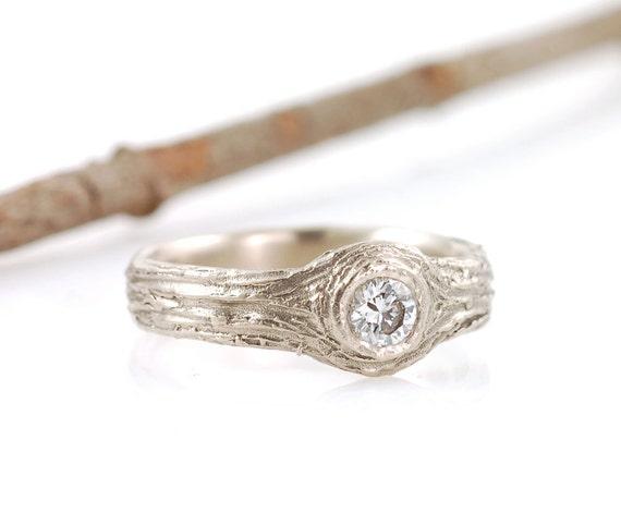 14k palladium white gold tree bark love knot engagement ring